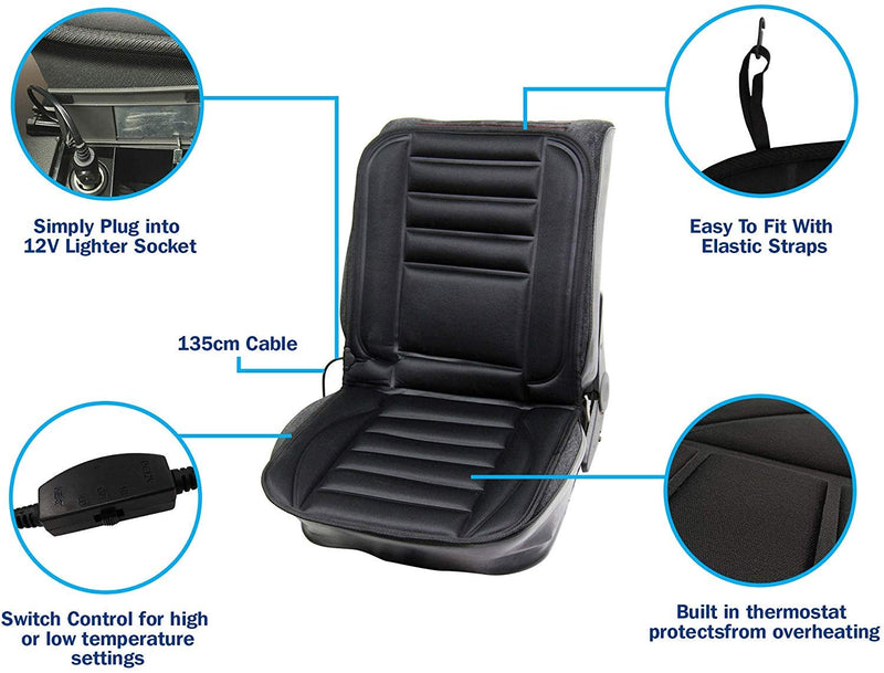 SW 12v In Car Van Plug Black Front Single Seat Cover Thermal Heated Support Cushion