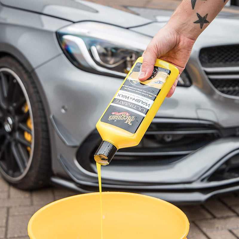 Meguiars Car Ultimate Wash & Wax For Glossy Shine 473ml+Microfiber Cloth+Pad