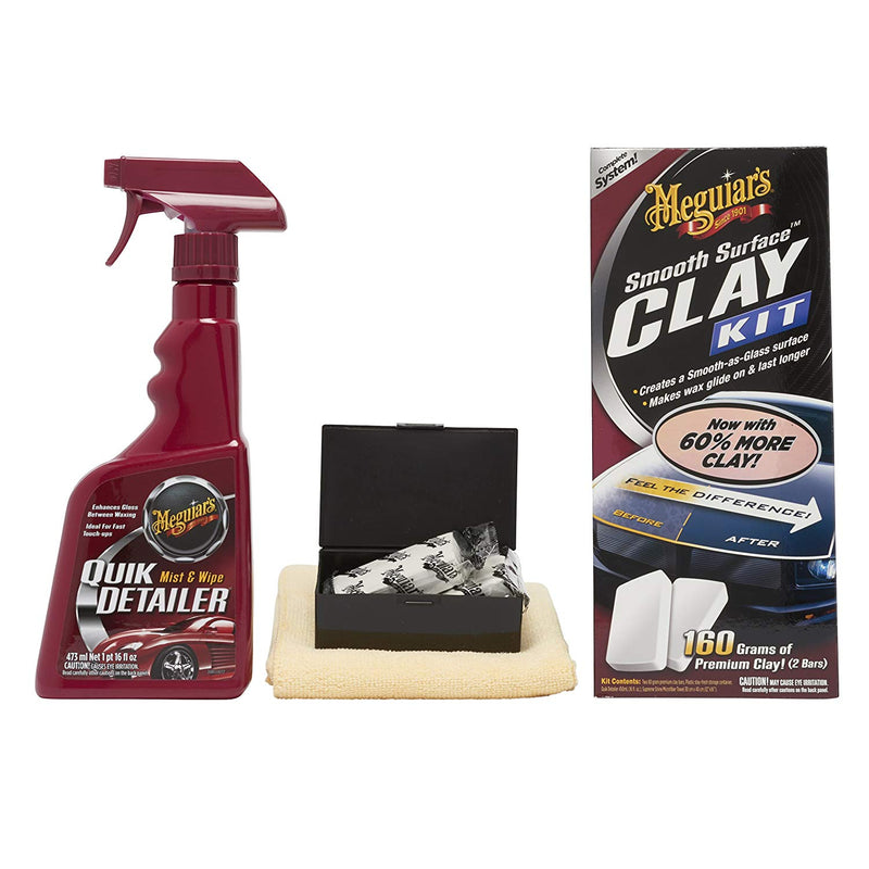 Meguiars Car Paint Smooth As Glass Surface Clay Detailing Kit+Cloth+Polish Pad