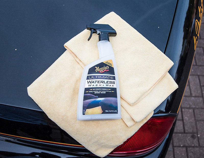 Meguiars Car Waterless Mist & Wipe Ultimate Wash & Wax Anywhere+Cloth+Polish Pad