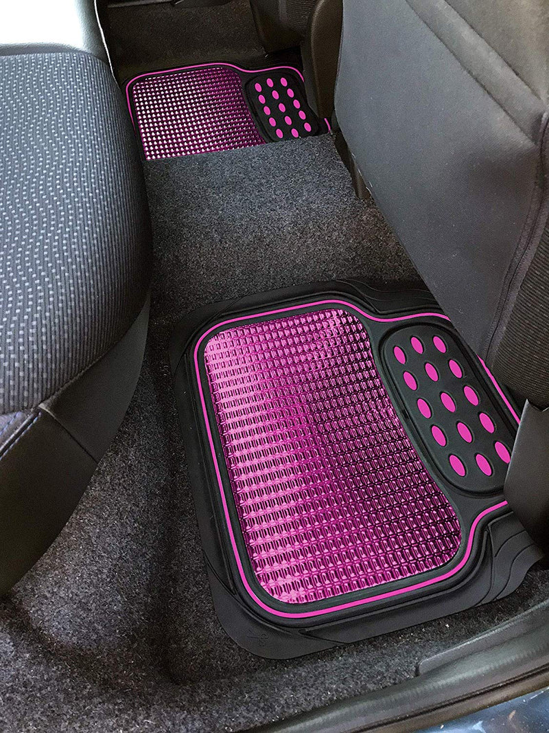 Revelation Shiny Pink Metallic Checker Effect Heavy Duty Car Black Rubber Mats Set of 4