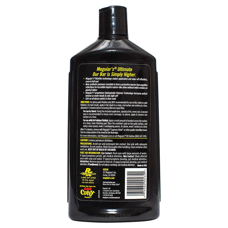 Meguiars Car Ultimate Hydrophobic Liquid Wax Pure Synthetic Polymer+Cloth+Polish Pad