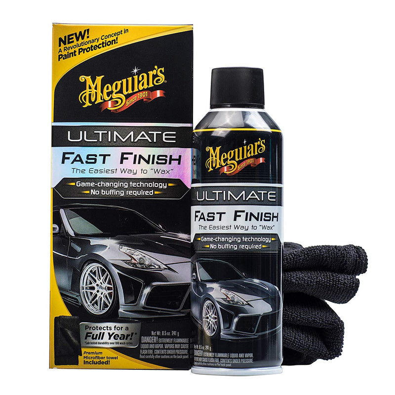 Meguiars Car Ultimate Fast Finish Wax No Buffing Required+Cloth+Polish Pad