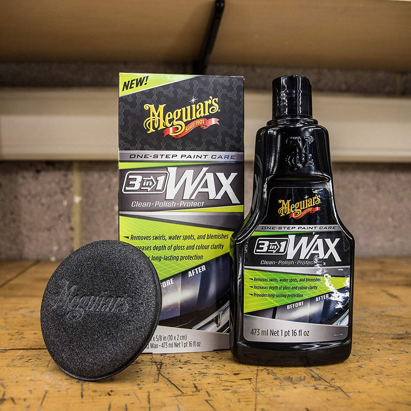 Meguiars Car 3in1 Clean Polish Protect Wax One Step Paint Care Kit+Cloth+Polish Pad
