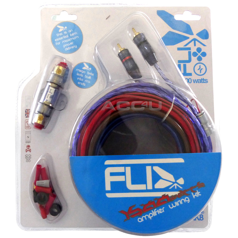 Fli Audio AK8 12v 8 Awg Gauge 1500 Watts System Car Amp Amplifier LED Wiring Kit