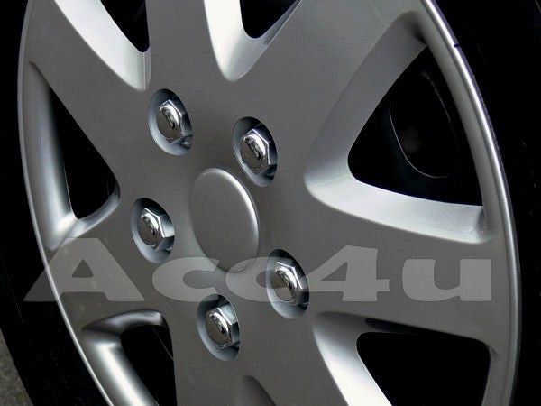 "13"" Silver Tempest Multi Spoke Car Wheel Trims Hub Caps Covers Set+Dust Caps+Ties"