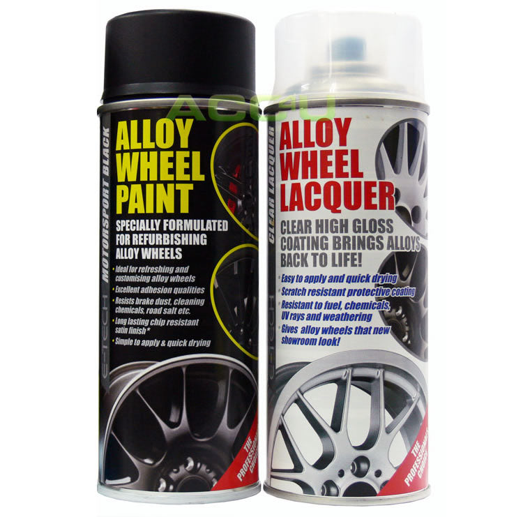 E-Tech BLACK Car Alloy Wheel Spray Paint+Clear Lacquer Refurbishment Deal
