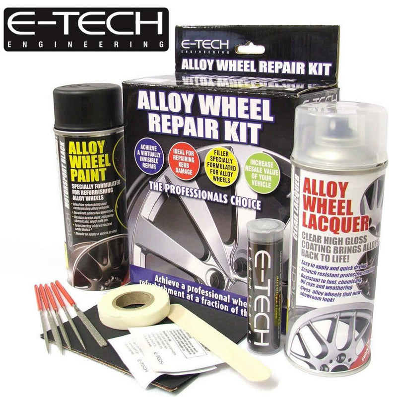 E-Tech BLACK Car Alloy Wheel Wheels Refurbishment Spray Paint Lacquer Repair Kit