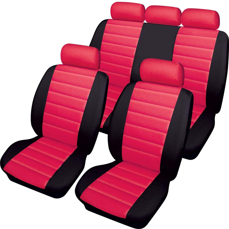 Carrera Red Black Soft Supple Quilted Leather Look Airbag Friendly Car Seat Covers Full Set