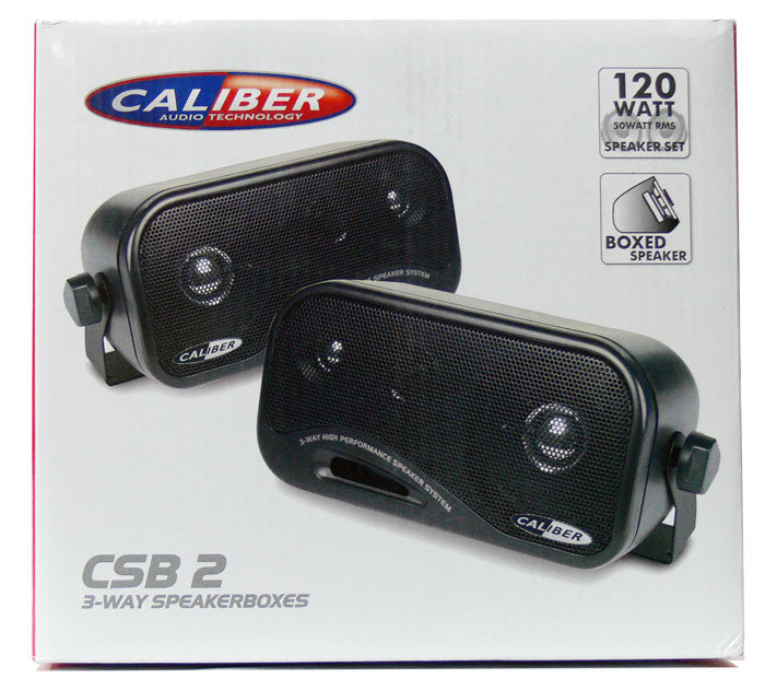 Caliber CSB2 Car Van Caravan Motorhome Home 3-Way Pod Boxed Speakers With Brackets