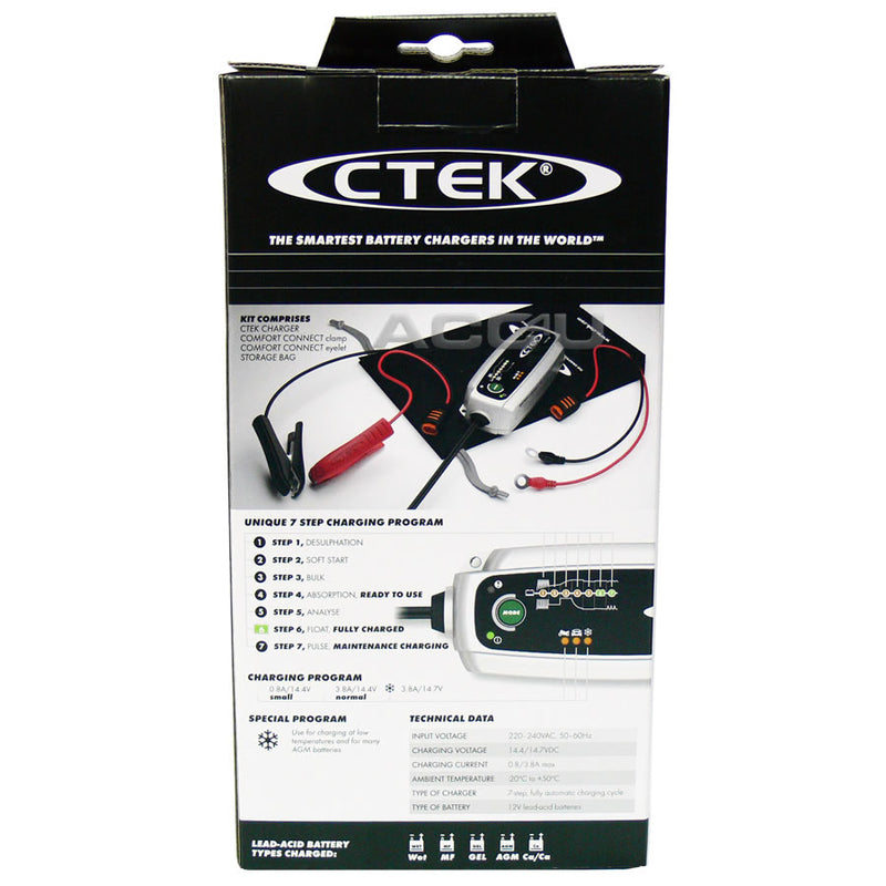 CTEK MXS 3.8 12v 3.8A Car Van Bike Boat 7 Stage Automatic Smart Battery Charger