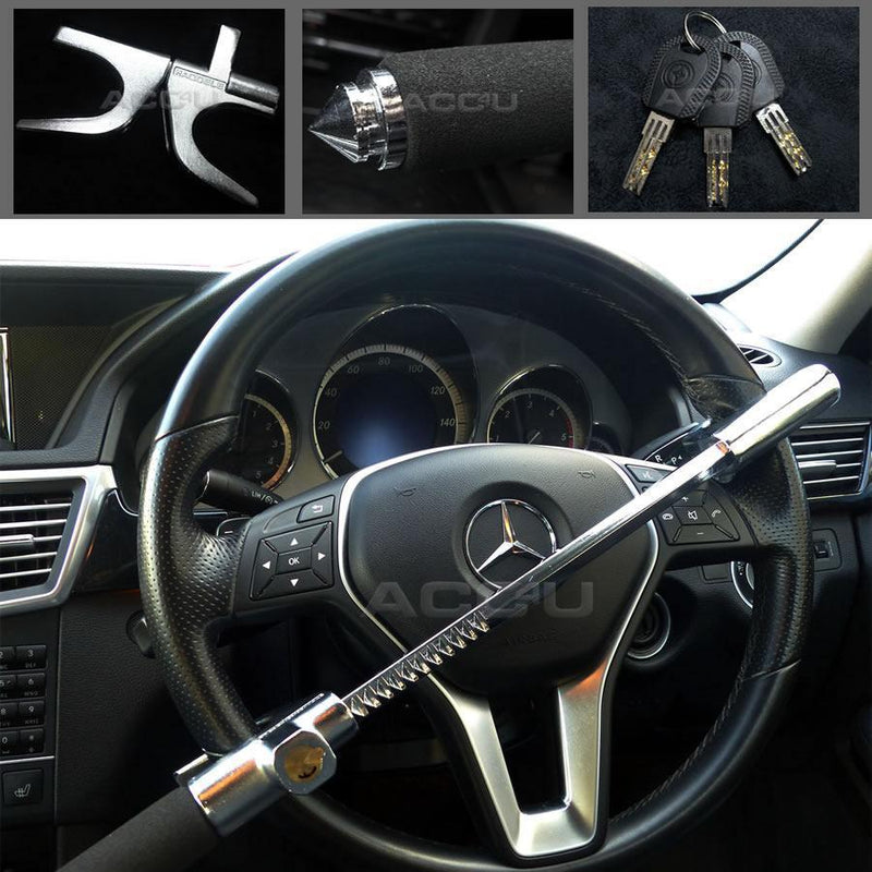 Steel Aluminium Car Anti Theft Steering Wheel Lock With Built-In Window Breaker