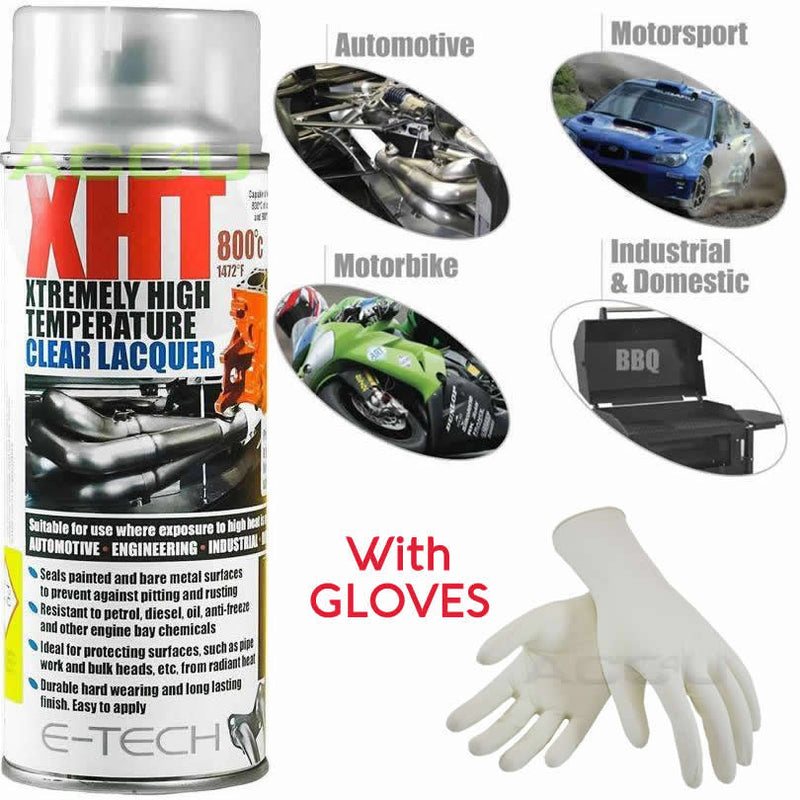 E-Tech XHT Xtremely High Temperature CLEAR LACQUER Car Engine Exhaust Spray Paint Can