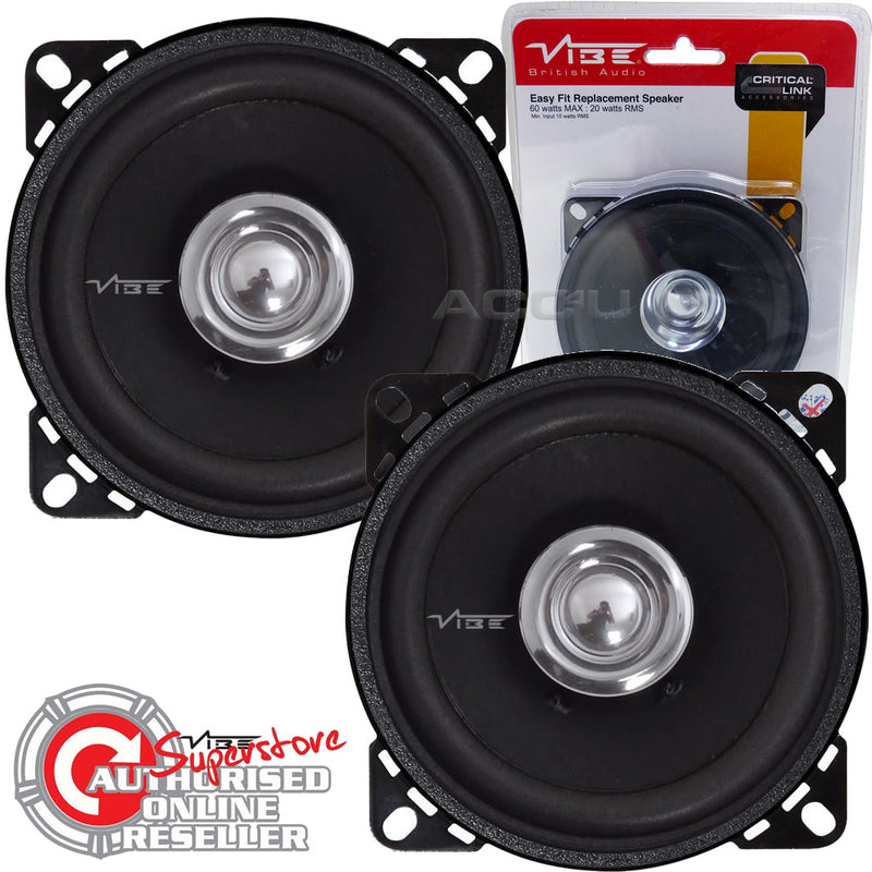 "Vibe DB4 High Performance 4"" inch Car Door Dashboard Coaxial Replacement Speakers Set"