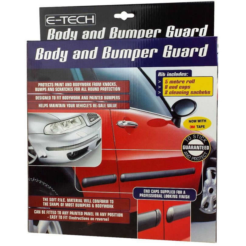 E-Tech BLACK Car Door Body Bumper Guard Protector Rubber Moulding Strip+End Caps Kit
