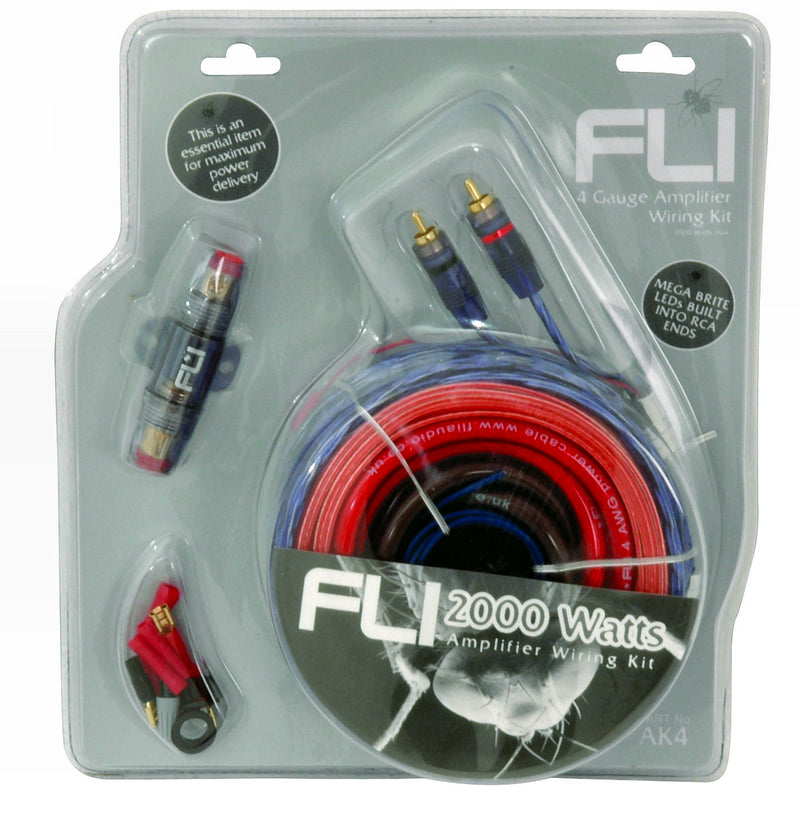 Fli Audio AK4 12v 4 Awg Gauge 2000 Watts System Car Amp Amplifier LED Wiring Kit