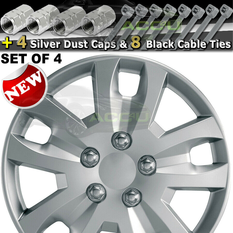 "15"" Silver Gyro Spyder Sports Look Car Wheel Trims Hub Caps Covers Set+Dust Caps+Ties"