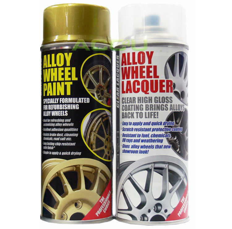 E-Tech GOLD Car Alloy Wheel Spray Paint+Clear Lacquer Refurbishment Deal