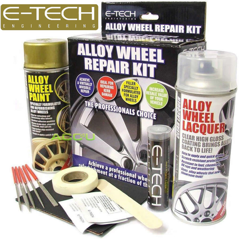 E-Tech GOLD Car Alloy Wheel Wheels Refurbishment Spray Paint Lacquer Repair Kit