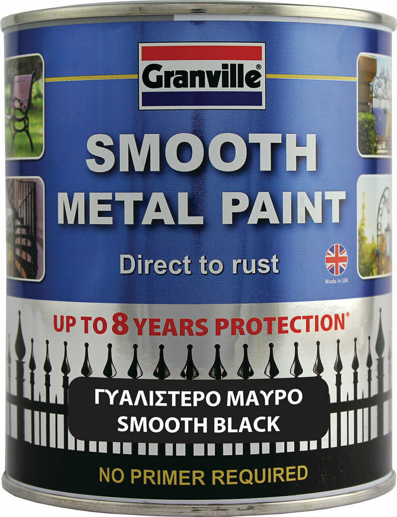 Granville Smooth Black Finish Direct To Rust Metal Brush On Paint Tin