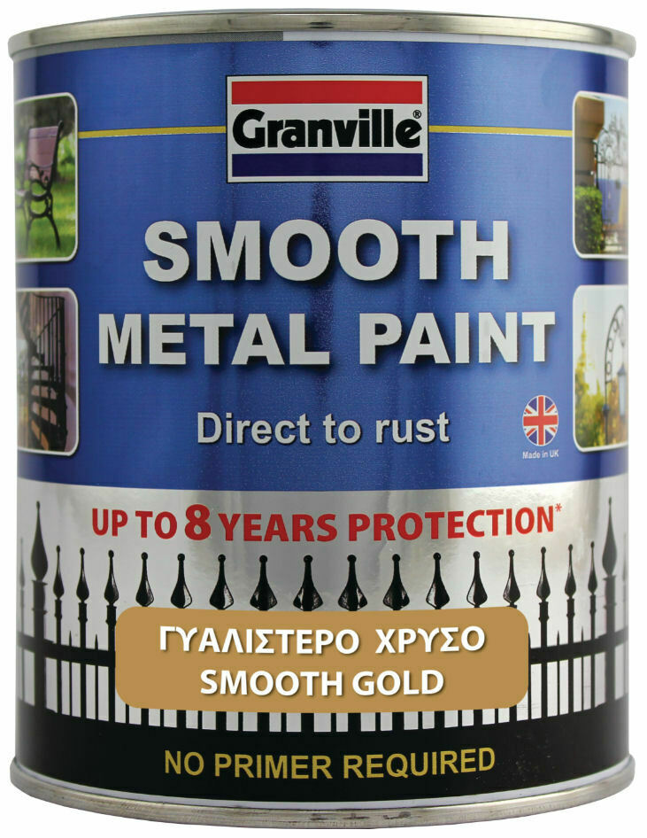 Granville Smooth Gold Finish Direct To Rust Metal Brush On Paint Tin