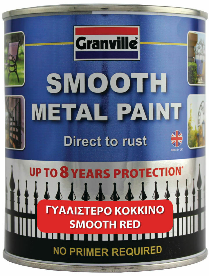 Granville Smooth Red Finish Direct To Rust Metal Brush On Paint Tin