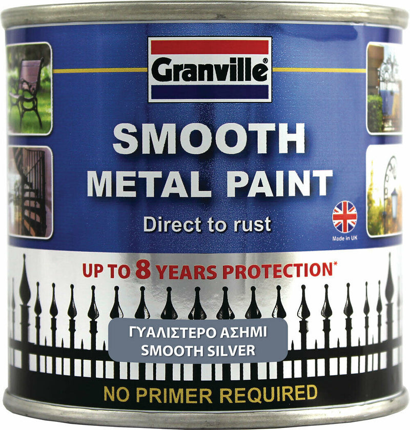 Granville Smooth Silver Finish Direct To Rust Metal Brush On Paint Tin