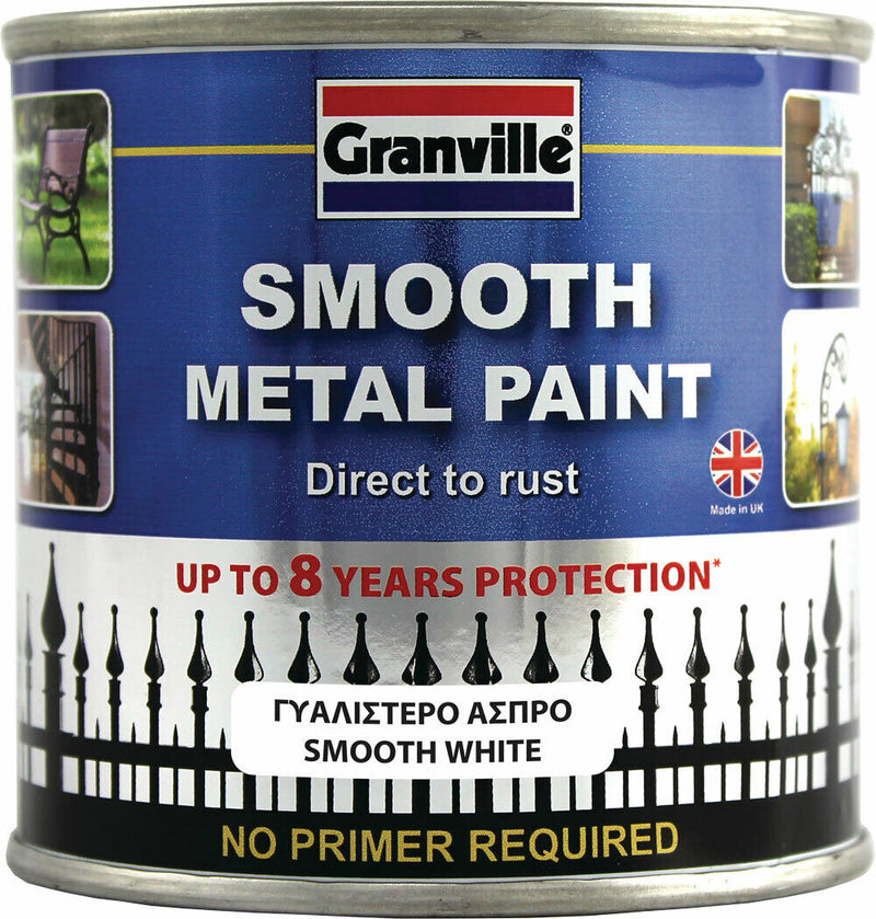 Granville Smooth White Finish Direct To Rust Metal Brush On Paint Tin