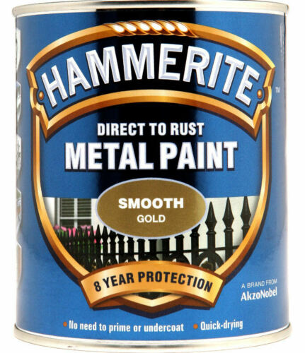 Hammerite Smooth GOLD Finish Direct To Rust Quick Drying Metal Paint 250ml Tin