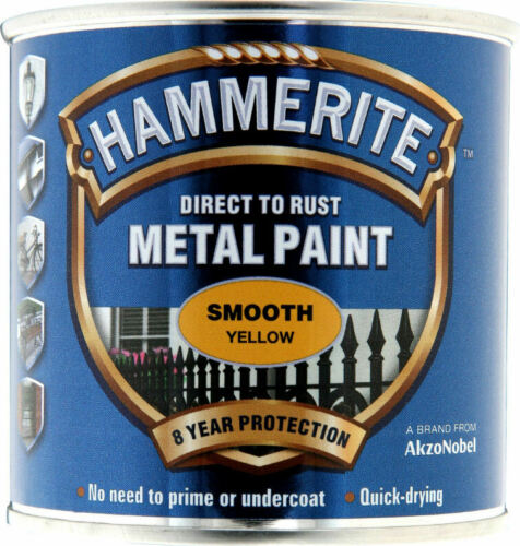 Hammerite Smooth YELLOW Finish Direct To Rust Quick Drying Metal Paint 250ml Tin