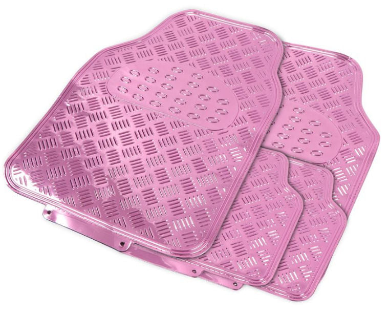 Shiny Pink Chrome Look Checker Style Effect Car Rubber Floor Mats Set Of 4