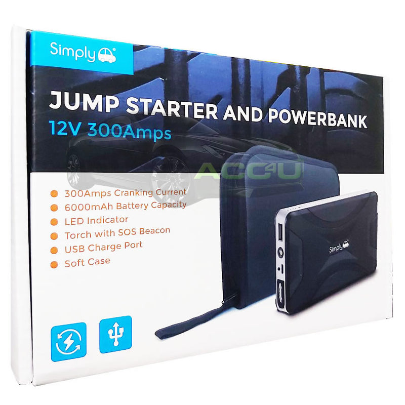 Simply 12v 300A 3000cc 3L Engine Portable Lithium Car Battery Jump Starter & Power Bank