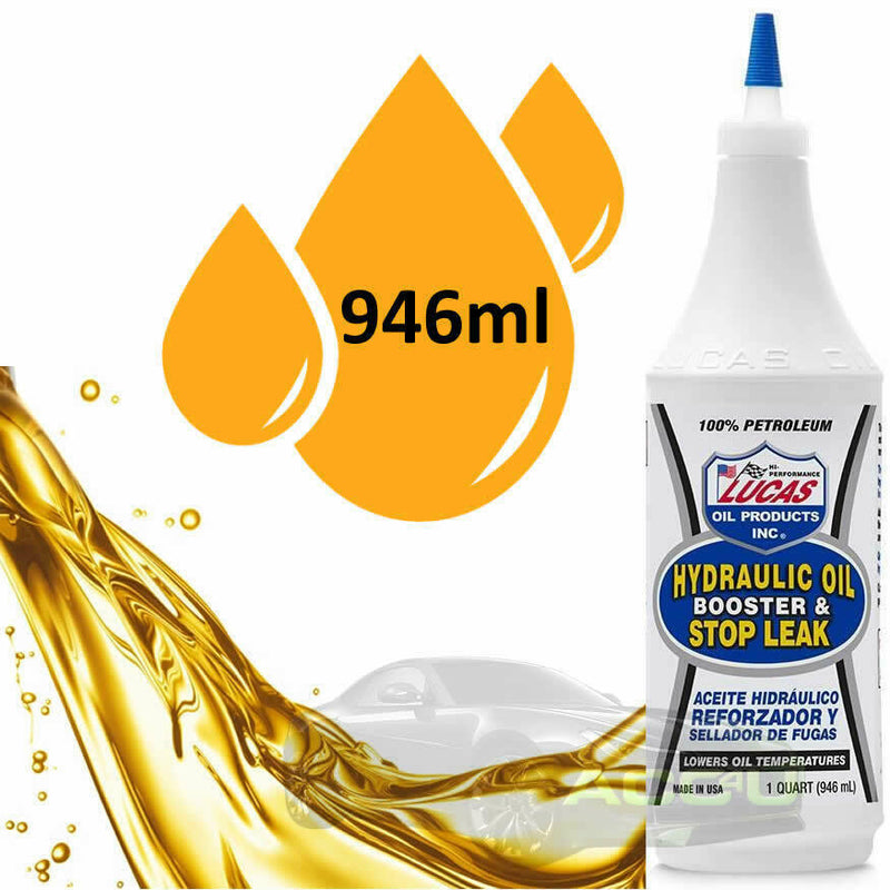 Lucas Oil Hydraulic Oil Booster & Stop Leak Additive 946ml - Reduces Heat & Friction