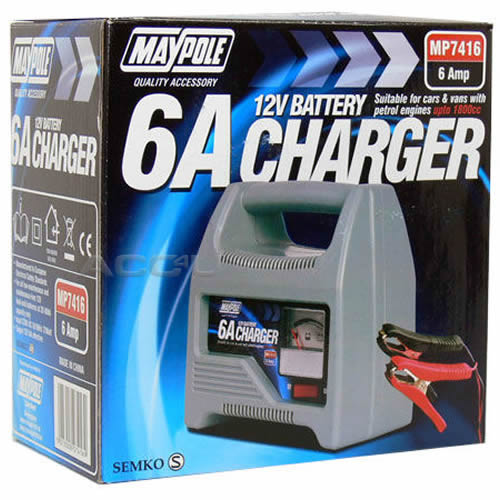 Maypole 12v 6 Amp Up To 1800cc Car Motorcycle Bike Leisure Battery Charger