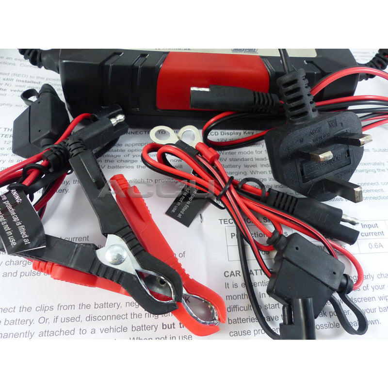 Maypole 6v 12v 4A Car Van Bike Electronic 5 Step Automatic Smart Battery Charger