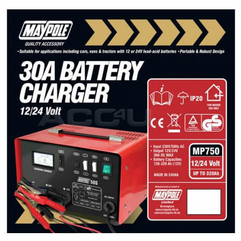 Maypole MP750 12v 24v 30A 120Ah to 320Ah Metal Case Car Leisure Battery Charger