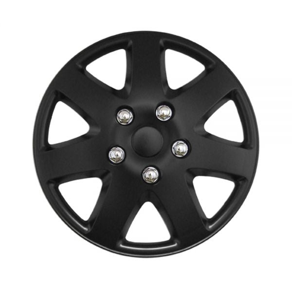 "15"" Matt Black Tempest 7 Spoke Car Wheel Trims Hub Caps Covers Set+Dust Caps+Ties"