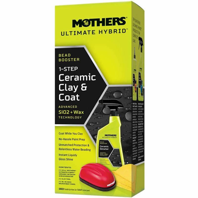 Mothers Ultimate Hybrid 1 Step Car Paint Prep Bead Booster Ceramic Clay & Coat Kit