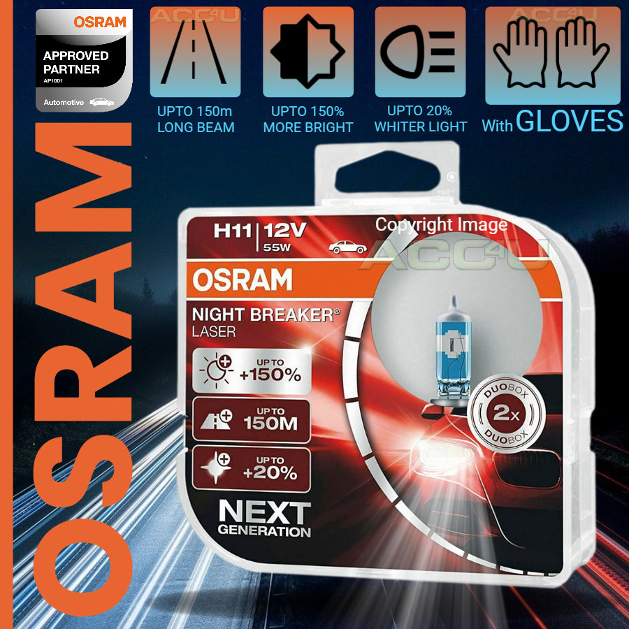 Osram Night Breaker Laser 12v H11 Car 150% Brighter Upgrade Headlight Bulbs Set