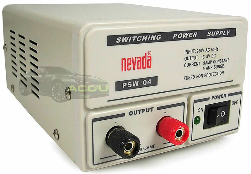 Nevada PSW-04 230v to 13.8v DC 3-5A 12v Car CB Radio Home Switching Power Supply