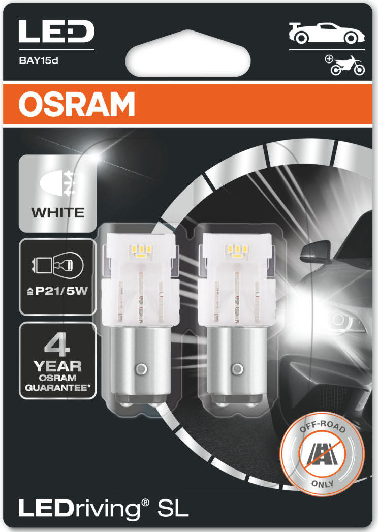 Osram LEDriving SL 12v Car 380 P21/5W Brake Stop/Tail Light White LED Bulbs Set
