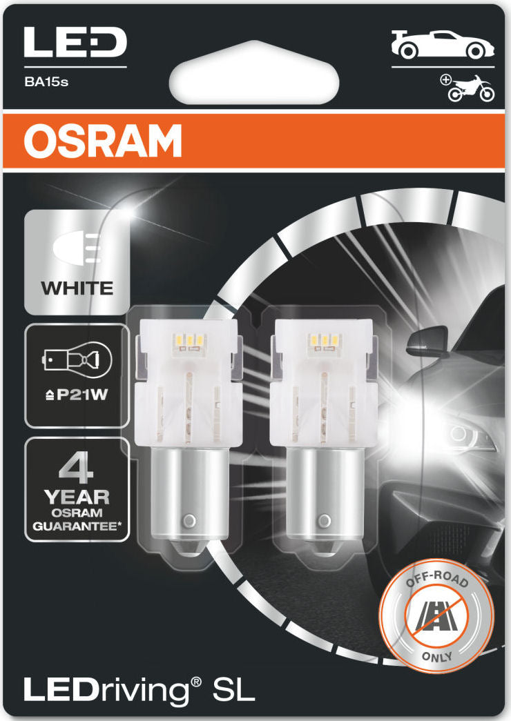 Osram LEDriving SL 12v Car 382 P21W Brake Tail Reverse Light White LED Bulbs Set