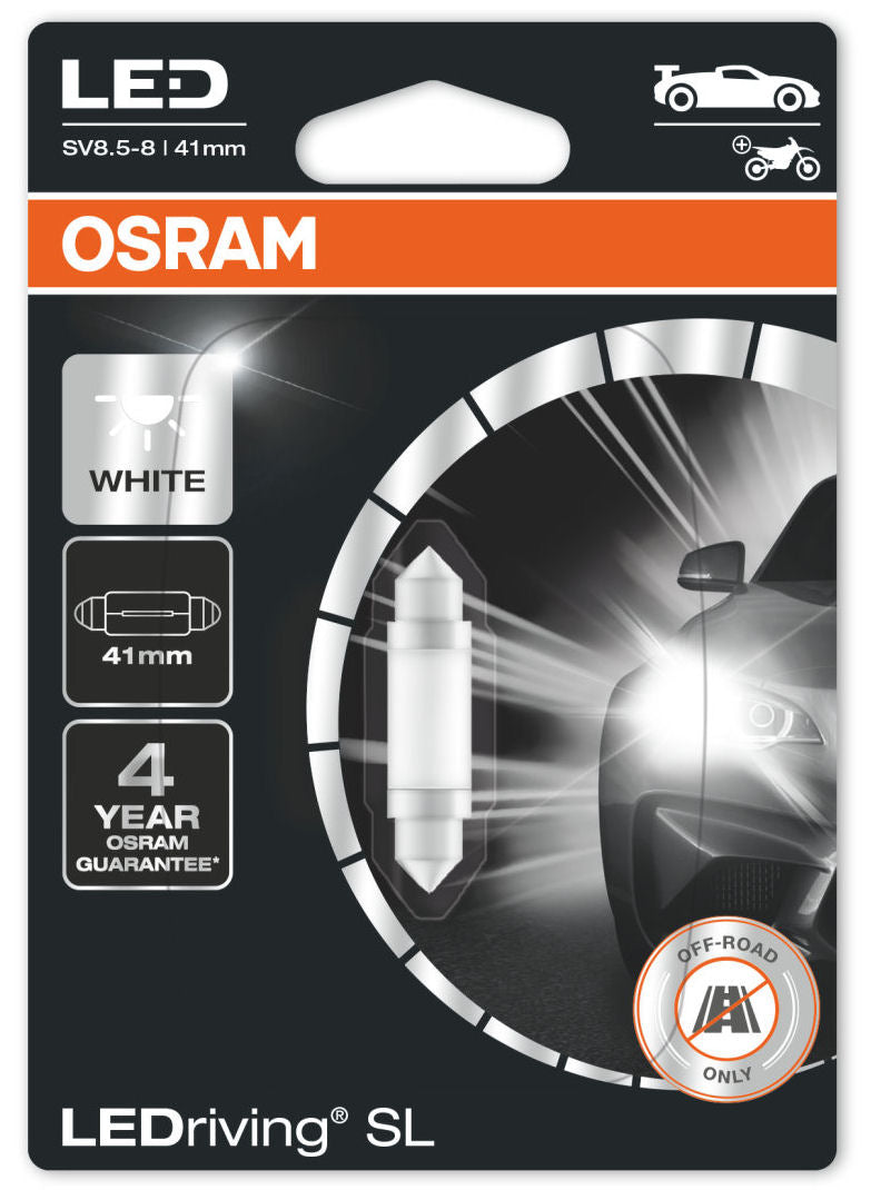 Osram LEDriving SL 12v Car SV8.5-8 S8.5d 41mm Festoon Interior White LED Bulb