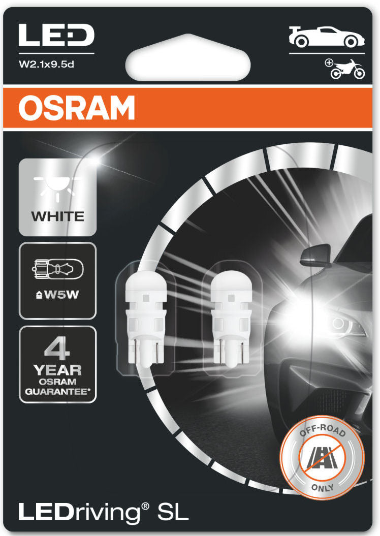Osram LEDriving SL 12v Car W5W 501 Interior Side Light 6000K Ice White LED Bulbs Set