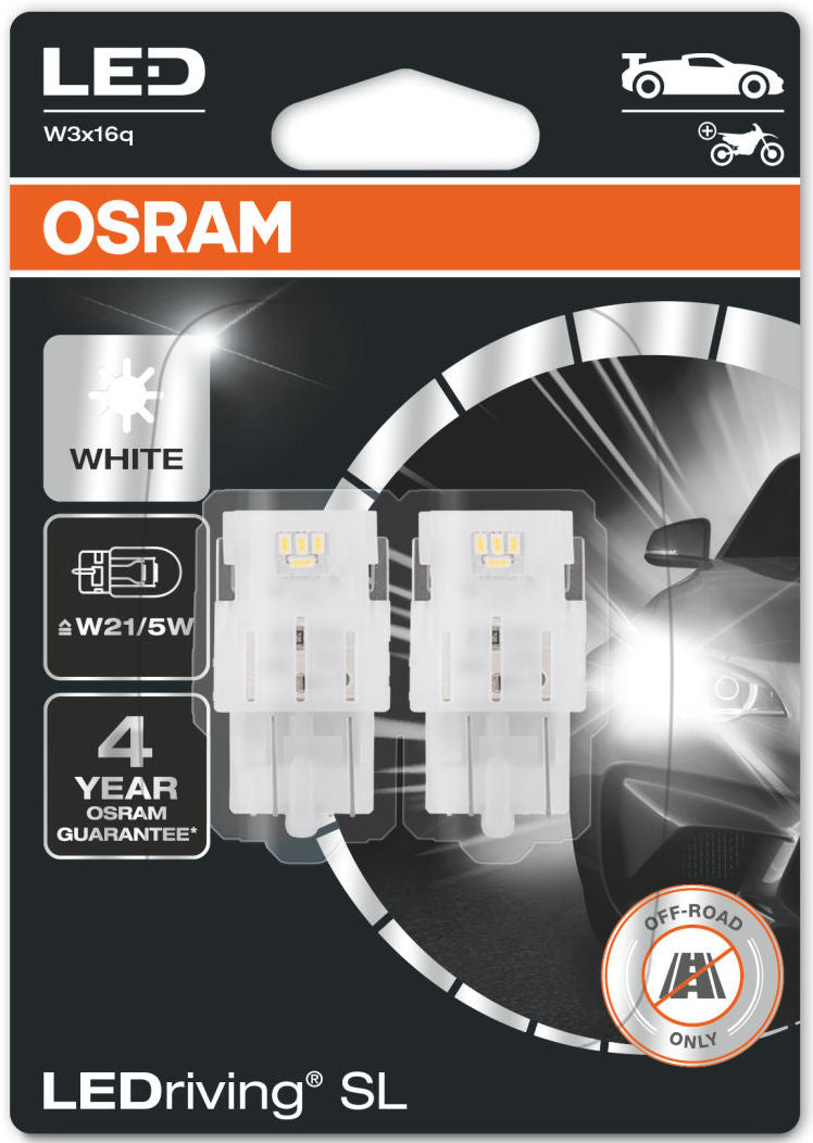 Osram LEDriving SL 12v Car 580 W21/5W Wedge Brake DRL Side Light White LED Bulbs