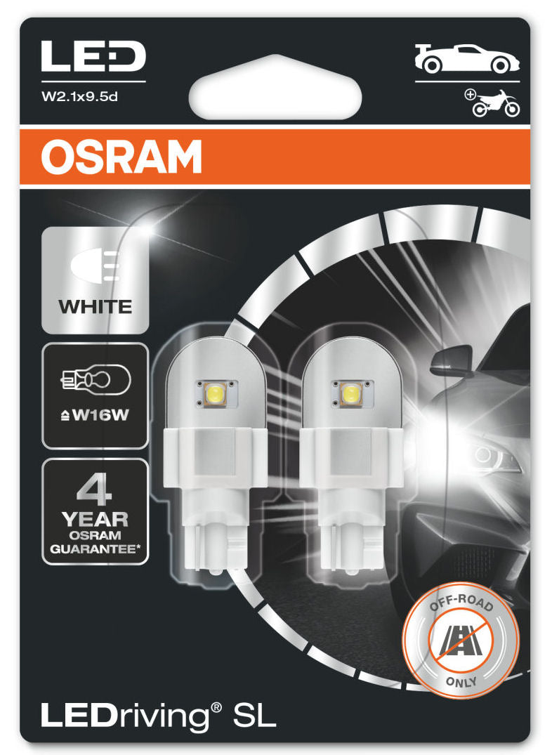 Osram LEDriving SL 12v Car W16W 921 T15 Stop Tail Light Lamp White LED Bulbs Set