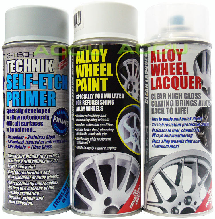 E-Tech WHITE Car Alloy Wheel Spray Paint+Clear Lacquer+Self Etch Primer Package