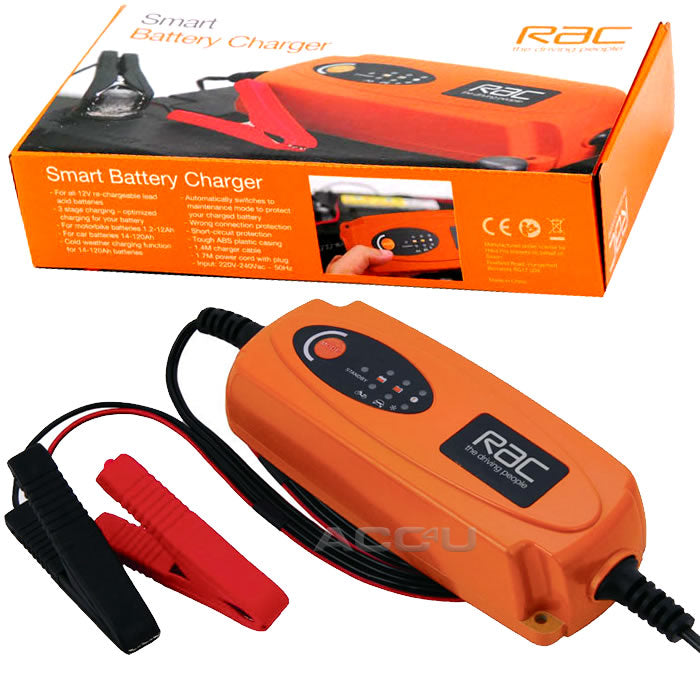 RAC 12v 1.2Ah - 120Ah Car Motorbike Bike 3 Stage Smart Lead Acid Battery Charger