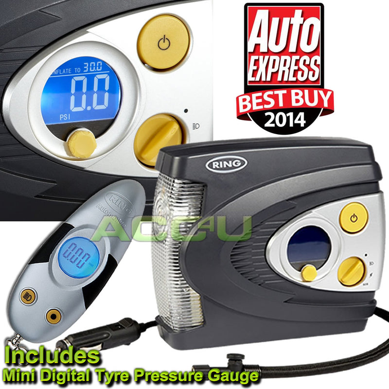 Ring RAC635 12v Preset Automatic Digital Car Tyre Air Compressor Inflator Pump+RTG4 Gauge