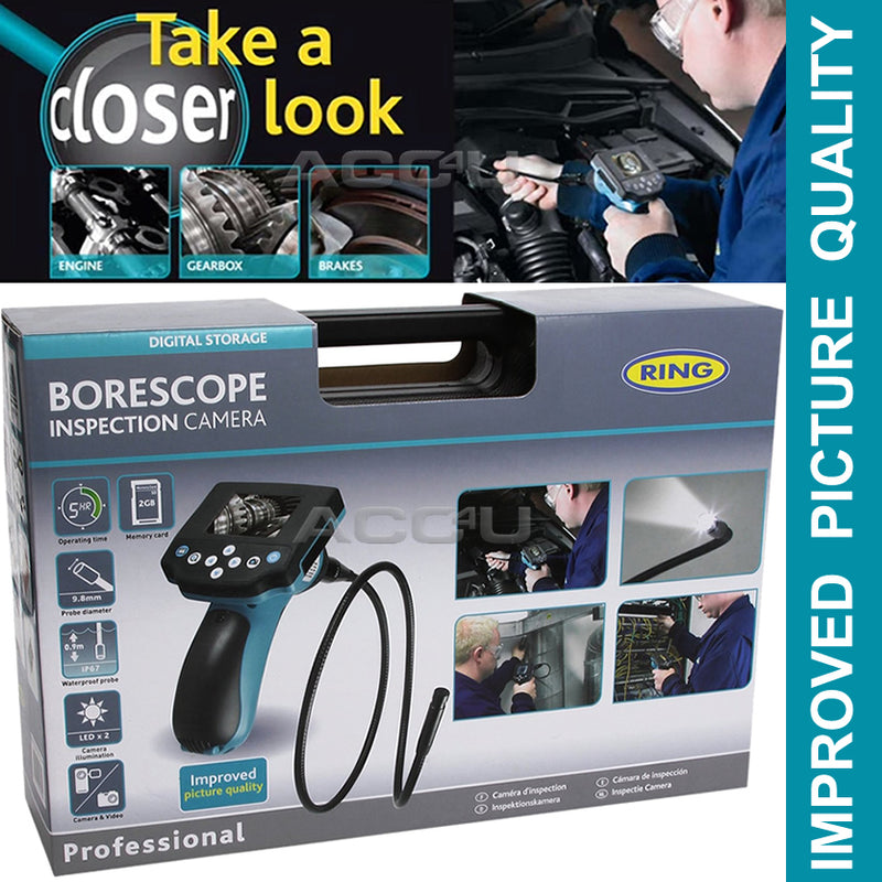 Ring RBS200 9.8mm Dia Probe Borescope Inspection Camera With Photo Video Capture